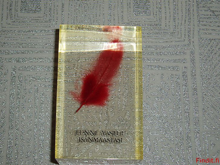 Myydään punainen sulka akryylikuutio