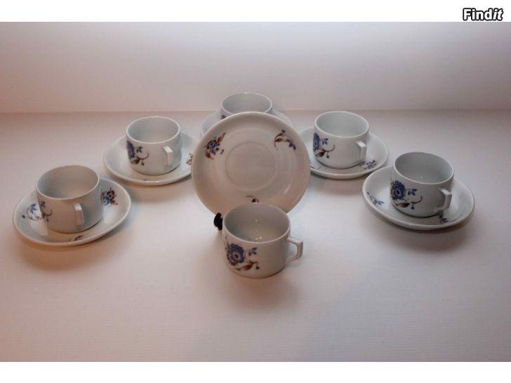 Säljes Sex par gamla Arabia kaffekoppar med fat
