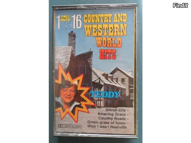 Säljes Teddy, 16 Country And Western World Hits. Kassett