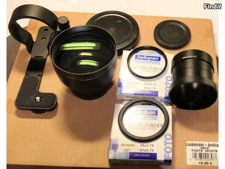 Myydään Nikon TC-E17ED 1.7x telelisäke + lisäosat, harvinainen