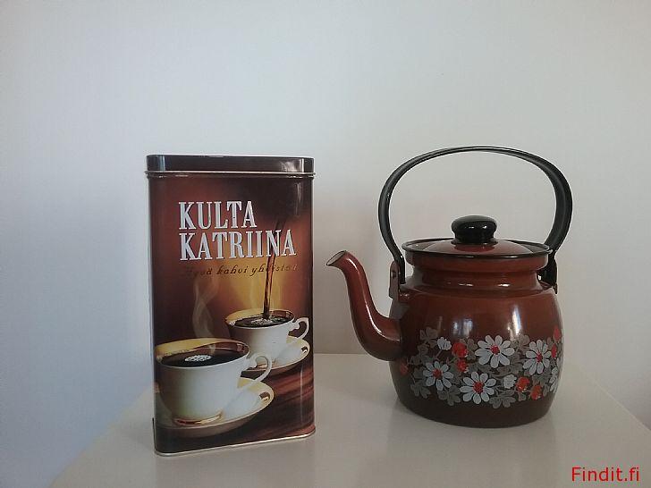 Säljes Arabia Finel emalj panna i toppskick. Kaffe, Kahvipannu. Glöggpanna mm. Retro. Böcker