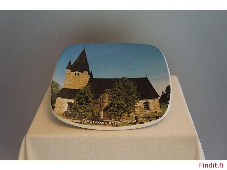 Säljes Arabia samlartallrik Finströms kyrka 1984